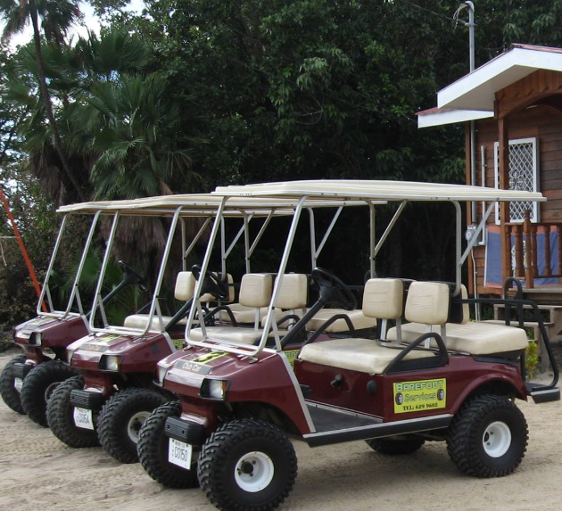 Exploring placencia belize by golf cart rent a golf cart for Narrow golf cart